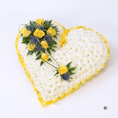 Classic White Heart with Yellow Roses