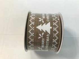 Natural Merry Christmas Ribbon